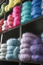 Ball of Wools arranging in shelf at yarn store, Bavaria, Germany
