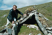 The joy of discovery. Archaeologist Michael Gibbons shows his delight just moments after finding an unrecorded megalithic tomb on Mt. Brandon this week. <br />The 4000 year old wedge tomb is the first to be discovered on the mountain and forms <br />part of a vast prehistoric farming landscape which he also discovered. <br />Pic Ted Creedon