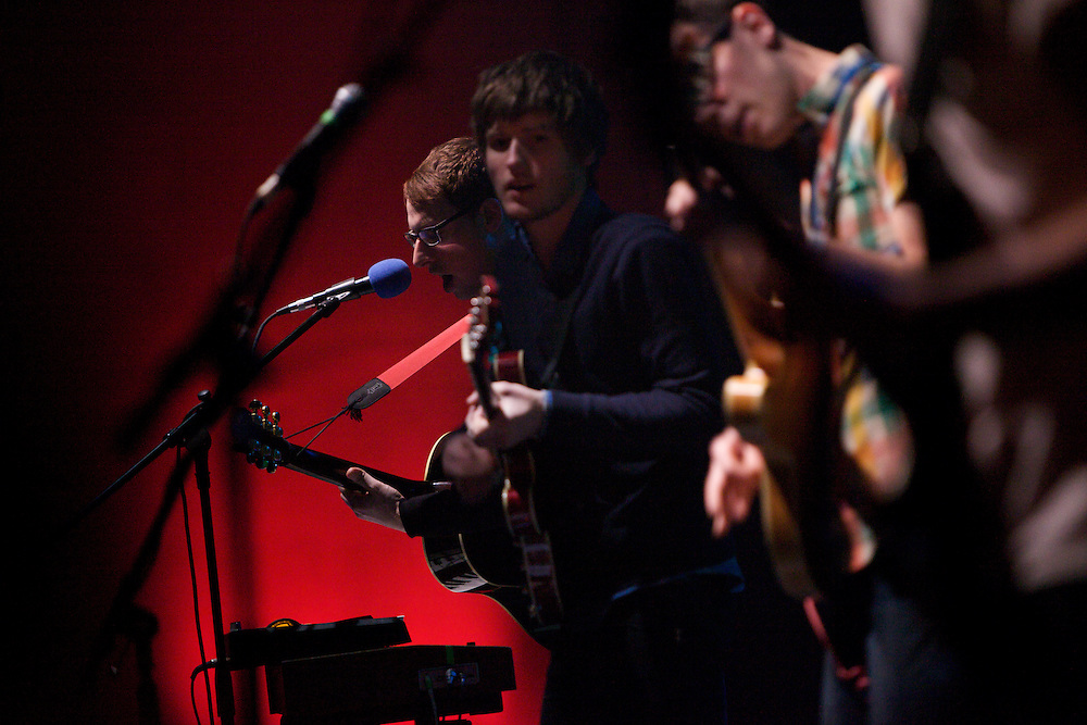 Joseph Marro, left, and other members of the California band Hellogoodbye perform at the Highline Ballroom in Manhattan, Wednesday, February 9, 2011. Marro previously played in several New Jersey bands, including Early November. (Photo/Claudio Papapietro)