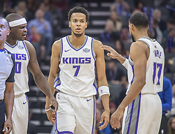 November 25, 2017 - Sacramento, CA, USA - The Sacramento Kings' Skal Labissiere (7) is congratulated by teammates Zach Randolph (50) and Garrett Temple (17) as he scores against the Los Angeles Clippers on Saturday, Nov. 25, 2017, at Golden 1 Center in Sacramento, Calif. (Credit Image: © Hector Amezcua/TNS via ZUMA Wire)