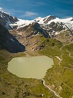 Aerial View of Swiss Alpine Lake in Sustenpass, Switzerland