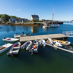 Skiffs on a floating dock in Vinalhaven, Maine.