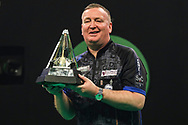 Glen Durrant wins the 2020 Unibet Premier League during the Unibet Premier League Play-Offs at the Ricoh Arena, Coventry, England on 15 October 2020.