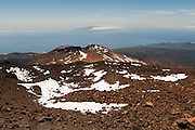 View of the volcano Pico Viejo from the flank of El Teide, Tenerife, Spain, with the island Gomera in the background