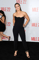 "World premiere of STXfilms ""Mile 22"" held at the Westwood Village Theatre on August 9, 2018 in Westwood, CA. © LuMarPhoto/AFF-USA.com. 09 Aug 2018 Pictured: Ronda Rousey. Photo credit: LuMarPhoto/AFF-USA.com / MEGA TheMegaAgency.com +1 888 505 6342"