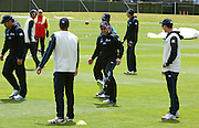 Cricket- Black Caps training session, 01 December 2013<br /> <br /> Brendon McCullum, captain (centre) kicks out at the ball during the Black Caps New Zealand training session at the University Oval, Dunedin on Sunday 1st December 2013.<br /> Photo: Jane Dawber/Photosport.co.nz