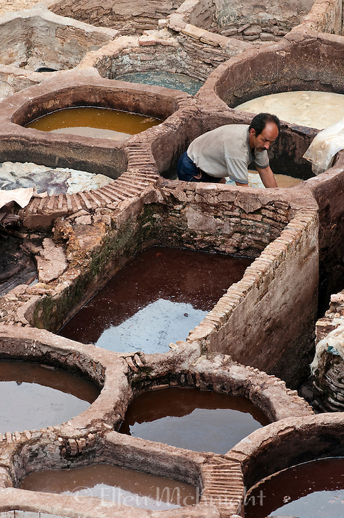 Worker at Chouara Tannery in Fes Morroco