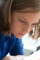 Portrait of girl concentrating on class work,