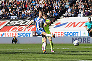 Michael Jacobs of Wigan Athletic shoots and scores his teams 4th goal. Skybet football league one match , Wigan Athletic v Southend Utd at the DW Stadium in Wigan, Lancs on Saturday 23rd April 2016.<br /> pic by Chris Stading, Andrew Orchard sports photography.