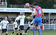Crystal Palace Scott Dann puts Palace 2-0 up during the The FA Cup Third Round match between Dover Athletic and Crystal Palace at Crabble Athletic Ground, Dover, United Kingdom on 4 January 2015. Photo by Phil Duncan.