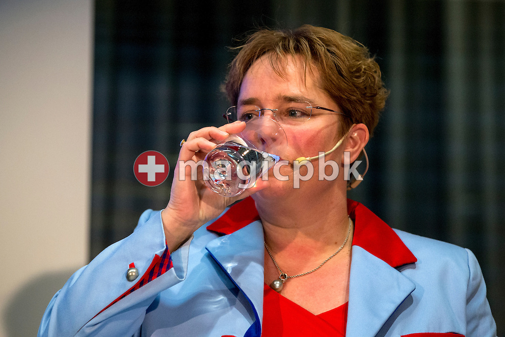 Magdalena Martullo-Blocher, chief executive officer (CEO) and vice-chairman of the board of directors of EMS-CHEMIE HOLDING AG, takes a sip of water during a press conference on the fourth quarter and full-year results 2014 in Zurich, Switzerland, Friday, February 6, 2015. The EMS Group, with its companies consolidated in the EMS-CHEMIE HOLDING AG is globally active in the business areas High Performance Polymers and Specialty Chemicals. In 2014, net sales increased by 4.6% and net operating income (EBIT) by 14.7% compared to the previous year. (Photo by Patrick B. Kraemer / MAGICPBK)