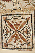 Pictures of a geometric detail of a Roman mosaics design, from the ancient Roman city of Thysdrus. 3rd century AD. El Djem Archaeological Museum, El Djem, Tunisia. .<br /> <br /> If you prefer to buy from our ALAMY PHOTO LIBRARY Collection visit : https://www.alamy.com/portfolio/paul-williams-funkystock/roman-mosaic.html . Type - El Djem - into the LOWER SEARCH WITHIN GALLERY box. Refine search by adding background colour, place, museum etc<br /> <br /> Visit our ROMAN MOSAIC PHOTO COLLECTIONS for more photos to download as wall art prints https://funkystock.photoshelter.com/gallery-collection/Roman-Mosaics-Art-Pictures-Images/C0000LcfNel7FpLI