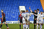 Red Card! Bolton Wanderers defender Ryan Delaney receives a second yellow card, Tranmere lead 2-1 during the EFL Sky Bet League 2 match between Tranmere Rovers and Bolton Wanderers at Prenton Park, Birkenhead, England on 23 January 2021.