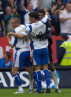 Photo: Daniel Hambury.<br />Charlton Athletic v Portsmouth. The Barclays Premiership. 16/09/2006.<br />Portsmouth's David James,(R) who is part of the defence which has yet to concede a goal, celebrates victoy with Matthew Taylor (L) and Dejan Stefanovic.