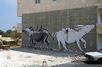 A graffiti painting depicting the Arab-Israeli conflict in the Middle East.