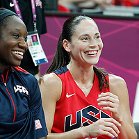 05 August 2012: USA Sue Bird is seen smiling on the bench during 114-66 Team USA victory over Team China, during the women's basketball preliminary, at the Basketball Arena, in London, Great Britain.
