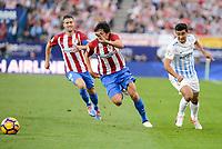"Atletico de Madrid's player Stefan Savic and Malaga CF Gonzalo ""Chory"" Castro during a match of La Liga Santander at Vicente Calderon Stadium in Madrid. October 29, Spain. 2016. (ALTERPHOTOS/BorjaB.Hojas)"