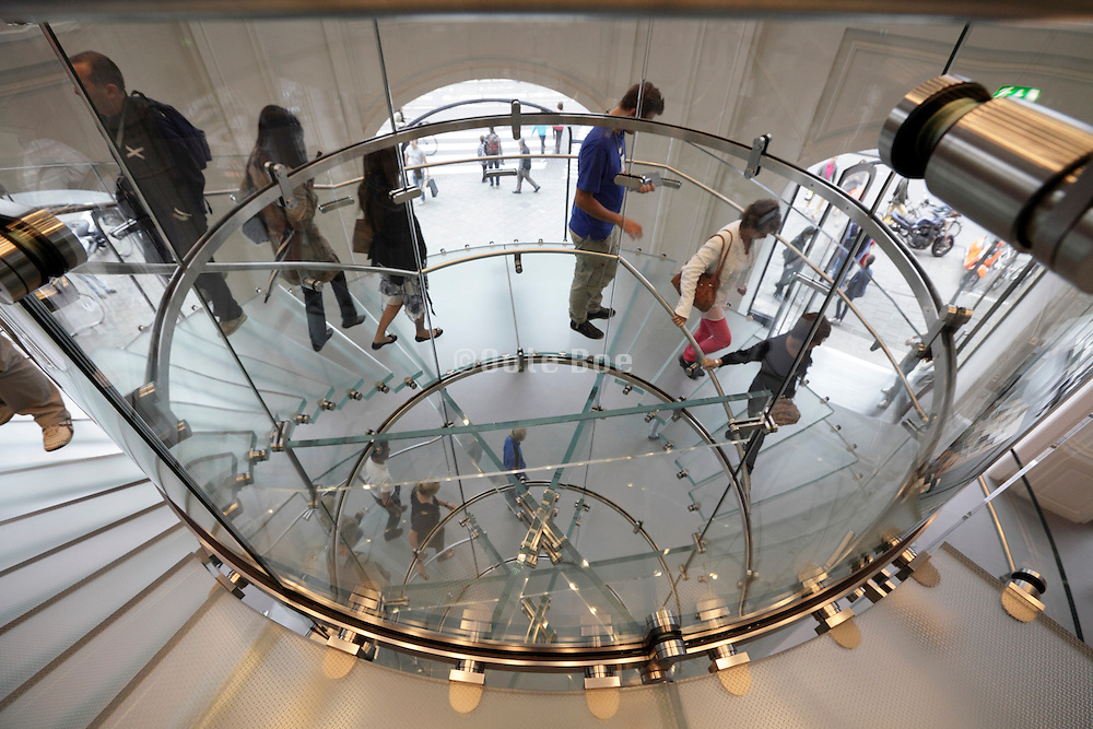 glass staircase inside the Apple store Leidseplein Amsterdam