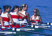 Banyoles, SPAIN, Cox Lesley THOMPSON - WILLIE, pilots the Canadian Women's Gold Medal eight into the awards dock. 1992 Olympic Regatta, Lake Banyoles, Barcelona, SPAIN.   [Mandatory Credit: Peter Spurrier: Intersport Images]