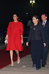 The Duchess of Sussex is welcomed by British Ambassador to Morocco Thomas Reilly and his wife Alix at Casablanca Airport in Casablanca as she arrives for her tour of Morocco.