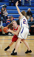 Tuxedo's Alison Toscano, left, looks to pass the ball around Chester's Kathryn Jankelunas during the Section 9 Class C girls' basketball championship game at SUNY New Paltz on Friday, March 1, 2013.
