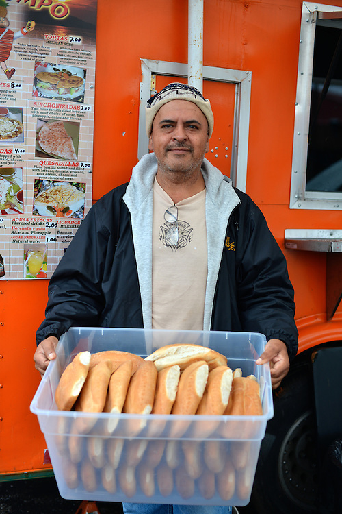 Employee at Mr. Trompo food truck.