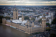 An aerial view of The Palace of Westminster, also known as the Houses of Parliament or Westminster Palace.  It is the meeting place of the two houses of the Parliament of the United Kingdom and is on the bank of the River Thames in London. Uk. 19th October 2016.