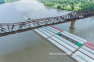 63807-01220 Barge on the Mississippi river and train crossing the Thebes bridge near Thebes, IL