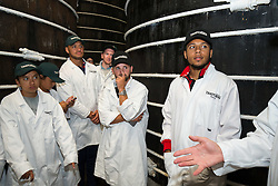 Korey Smith of Bristol City looks on as Thatcher's Cider Director Martin Thatcher takes Bristol Sport representatives on a tour of Myrtle Farm - Rogan Thomson/JMP - 29/07/2016 - PR - Myrtle Farm - Sandford, England - Bristol Sport Thatchers Visit.