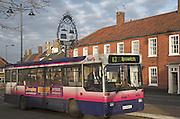 Single decker country bus to Ipswich, Wickham Market, Suffolk, England