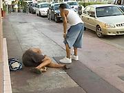 Homeless man on a sidewalk Miami USA