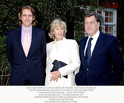 Left to right, MR BEN ELLIOT and SIMON & ANNABEL ELLIOT she is the sister of Camilla Parker Bowles, at a dinner in London on 19th May 2003.PJS 29