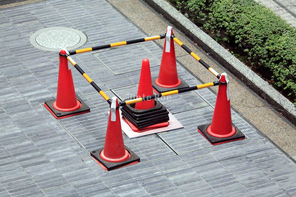 cones blocking of a small square repair