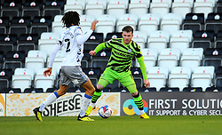 Nicky Cadden of Forest Green Rovers tris to get past Miles Welch-Hayes of Colchester United- Mandatory by-line: Nizaam Jones/JMP - 27/02/2021 - FOOTBALL - The innocent New Lawn Stadium - Nailsworth, England - Forest Green Rovers v Colchester United - Sky Bet League Two