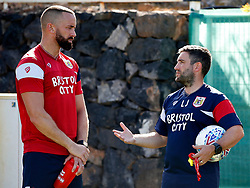 Bristol City head coach Lee Johnson talks with Aaron Wilbraham - Mandatory by-line: Matt McNulty/JMP - 20/07/2017 - FOOTBALL - Tenerife Top Training Centre - Costa Adeje, Tenerife - Pre-Season Training