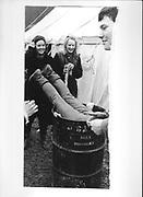Sarah Potts in bin. Bullingdon point to point. Kingston Blount. 1984