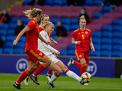 CARDIFF, WALES - Tuesday, April 13, 2021: Denmark's Stine Larsen sees her shot go wide during a Women's International Friendly match between Wales and Denmark at the Cardiff City Stadium. (Pic by David Rawcliffe/Propaganda)