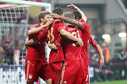 02.11.2011, Allianz Arena, Muenchen, GER, UEFA CL, FC Bayern Muenchen vs. SSC Neapel, im Bild Jubel nach dem 1-0 durch Mario Gomez (Bayern #33)  mit Thomas Mueller (Bayern #25) Bastian Schweinsteiger (Bayern #31) // during the CL match  FC Bayern Muenchen (GER)  vs.  SSC Neapel  (ITA) Gruppe A, on 2011/11/02, Allianz Arena, Munich, Germany, EXPA Pictures © 2011, PhotoCredit: EXPA/ nph/  Straubmeier       ****** out of GER / CRO  / BEL ******