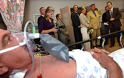 PRETORIA, SOUTH AFRICA - APRIL-26-2004 -.Princess Astrid of Belgium  and Marc Verwilghen , Belgian Minister of Development and Cooperation, visit the Pretoria Academic Hospital. Before the visit, Minister Verwilghen signed a bilateral agreement donating 3.5 million Euros of aid over the next four years to South Africa. (PHOTO © JOCK FISTICK)