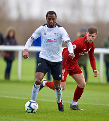 DERBY, ENGLAND - Friday, March 8, 2019: Derby County's Efe Ambrose (L) and Liverpool's Ben Woodburn during the FA Premier League 2 Division 1 match between Derby County FC Under-23's and Liverpool FC Under-23's at the Derby County FC Training Centre. (Pic by David Rawcliffe/Propaganda)