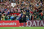 Mario Mandzukic and Domagoj Vida of Croatia celebrate after winning the 2018 FIFA World Cup Russia, semi-final football match between Croatia and England on July 11, 2018 at Luzhniki Stadium in Moscow, Russia - Photo Tarso Sarraf / FramePhoto / ProSportsImages / DPPI