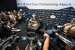 Norwegian reigning champion Magnus Carlson (left) and American challenger Fabiano Caruana shake hands before the start of their tie-break matches at the FIDE World Chess Championship match, at the College, in Holborn, London.