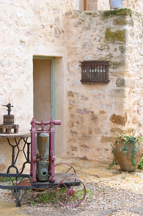 Mas de Perry, Mas Nicot. Terrasses de Larzac. Languedoc. A door. The winery building. France. Europe.