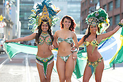 NO FEE PICTURES.Models from Principal Models  Jennifer Arayjo (left),  Adrianna Vieira and Vanessa Froto at a photocell for Carnival which is on the 10th of February 2013 in Dtwo on Harcourt Street, Dublin 2. Our mission is to bring the world's biggest and most famous party, the Brazilian Carnival, to Dublin