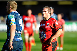 Toulon Prop (#1) Gethin Jenkins looks on during the second half of the match - Photo mandatory by-line: Rogan Thomson/JMP - Tel: Mobile: 07966 386802 21/10/2012 - SPORT - RUGBY - Cardiff Arms Park - Cardiff. Cardiff Blues v Toulon (RC Toulonnais) - Heineken Cup Round 2
