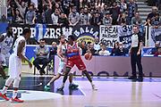 DESCRIZIONE : Trento Lega A 2015-16 Dolomiti Energia Trentino - Consultinvest Pesaro<br /> GIOCATORE : Semay Christon<br /> CATEGORIA : Palleggio<br /> SQUADRA : Dolomiti Energia Trentino - Consultinvest Pesaro<br /> EVENTO : Campionato Lega A 2015-2016 <br /> GARA : Dolomiti Energia Trentino - Consultinvest Pesaro<br /> DATA : 08/11/2015 <br /> SPORT : Pallacanestro <br /> AUTORE : Agenzia Ciamillo-Castoria/Giulio Ciamillo<br /> Galleria : Lega Basket A 2015-2016 <br /> Fotonotizia : Trento Lega A 2015-16 Dolomiti Energia Trentino - Consultinvest Pesaro