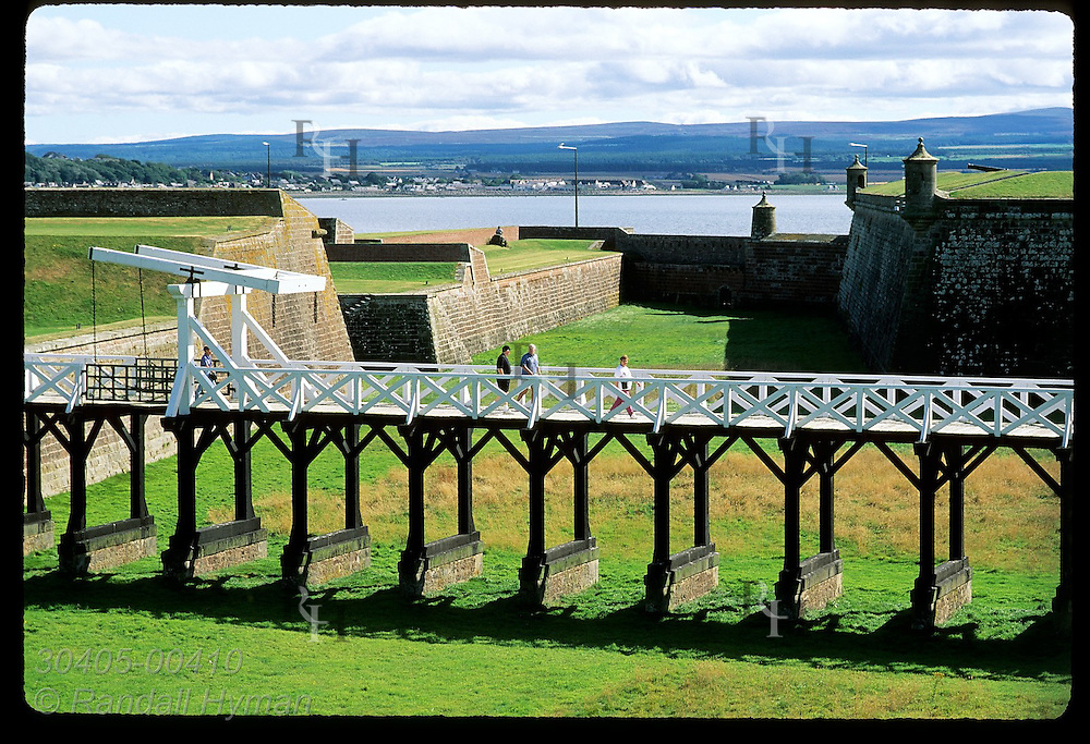 Bridge to main gate spans dry moat at Fort George, once Europe's finest fort, built after 1746 Jacobite defeat; Ardersier, Scotland.