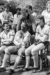 File photo dated 13-05-1987 of The Coventry City squad relaxing at a Hotel near Bournemouth ahead of their FA Cup Final match against Tottenham Hotspur. (l-r)Micky Gynn, Cyrille Regis, Dean Emerson and reserve goalkeeper Jake Findlay (leaning over).