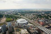 Nederland, Amsterdam, Zuidoost, 17-06-2008; Arenagebied met station Bijlmer en het Ajax stadion: de Amsterdam ArenA; in de verte het centrum van Amsterdam  met de binnenstad..luchtfoto (toeslag); aerial photo (additional fee required); .foto Siebe Swart / photo Siebe Swart