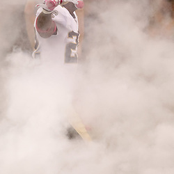 October 3, 2010; New Orleans, LA, USA; New Orleans Saints cornerback Tracy Porter (22) is seen through the smoke during introduction prior to kickoff of a game against the Carolina Panthers at the Louisiana Superdome. Mandatory Credit: Derick E. Hingle